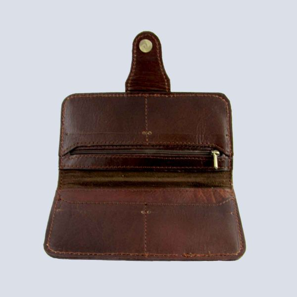 Handwoven Leather Brown Wallet Purse Inside