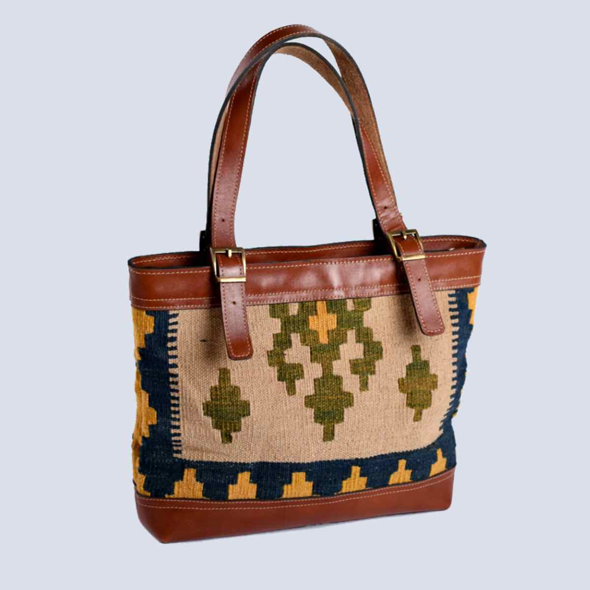 Handmade Vintage Kilim Leather Brown Tote Bag