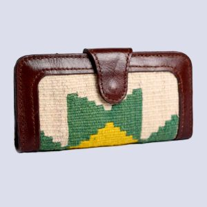 Handwoven Vintage Kilim Leather Brown Wallet Purse