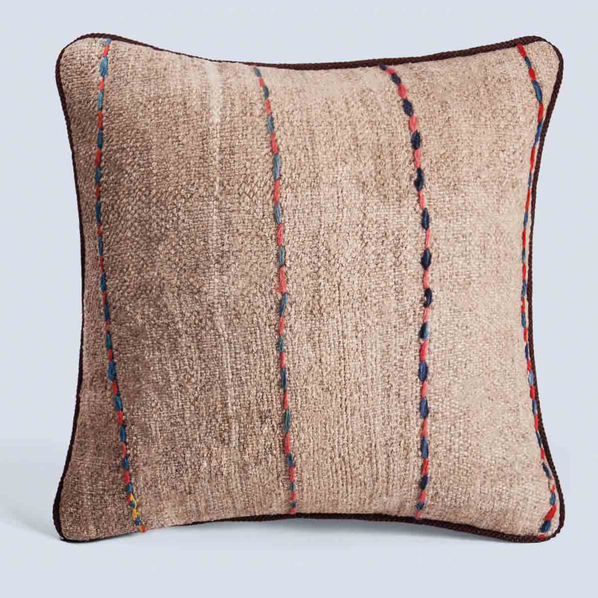 Handwoven Vintage Kilim Khaki Square Stripe Cushion