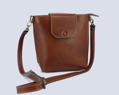 Handmade Genuine Leather Brown Bucket Crossbody Bag