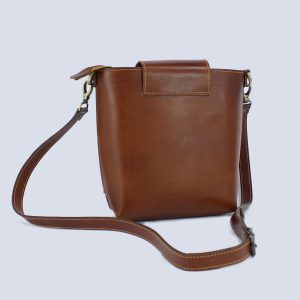 Handmade Genuine Leather Brown Bucket Crossbody Bag Back