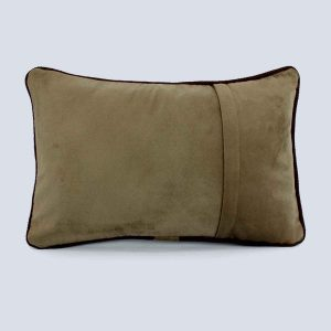 Handwoven Fabric Khaki Rectangular Cushion Back