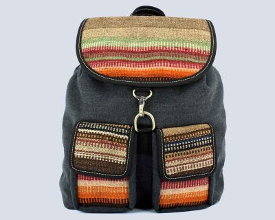 Handwoven Kilim Orange Fabric Gray Backpack