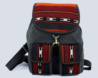 Handwoven Kilim Red Fabric Gray Backpack