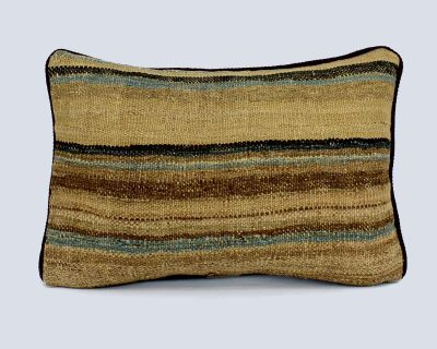 Handwoven Vintage Kilim Khaki Rectangular Stripe Cushion