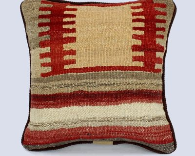 Handwoven Vintage Kilim Khaki Square Red Cushion