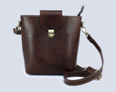 Handmade Genuine Leather Dark Brown Bucket Crossbody Bag
