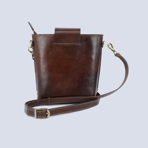 Handmade Genuine Leather Dark Brown Bucket Crossbody Bag Back