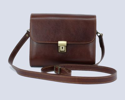 Handmade Leather Dark Brown Crossbody Bag