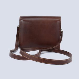 Handmade Leather Dark Brown Crossbody Bag Back