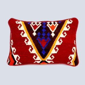 Handwoven Vintage Kilim Red Brown Rectangular Cushion