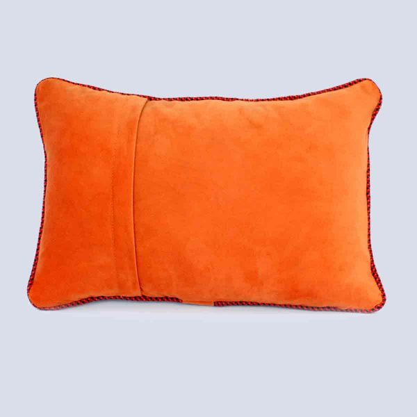 Handwoven Fabric Orange Rectangular Cushion Back