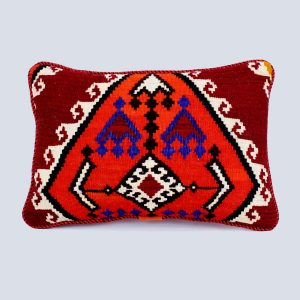 Handwoven Vintage Kilim Red Orange Rectangular Cushion